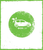 Eco Car Drive Green Vector Natural Friendly Concept On Rough Background Stock Image