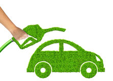 Eco car and gasoline fuel. On white background Royalty Free Stock Images