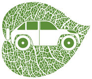 Concept of the eco-car. Eco car on green leaf background. Vector illustration Royalty Free Stock Photo