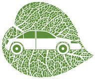 Concept of the eco-car. Eco car on green leaf background. Vector illustration Royalty Free Stock Image
