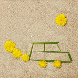 Eco car illustration in sand Stock Image