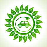 Eco car inside the leaf background Stock Photo