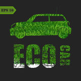 Eco car made of green leaves concept Stock Images