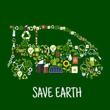 Eco car silhouette with green energy flat icons. Eco car conceptual symbol composed of green energy wind turbine and solar panel, recycling signs, light bulbs Royalty Free Stock Photos