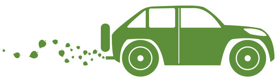 Concept of the eco-car. Eco car on white background. Vector illustration Royalty Free Stock Photography