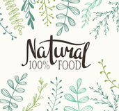 Eco Card with plants and lettering Natural food 100%. Stock Photo