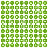 100 eco care icons hexagon green. 100 eco care icons set in green hexagon isolated vector illustration Stock Image