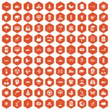 100 eco care icons hexagon orange. 100 eco care icons set in orange hexagon isolated vector illustration Stock Photos