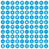 100 eco care icons set blue. 100 eco care icons set in blue hexagon isolated vector illustration vector illustration