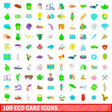 100 eco care icons set, cartoon style. 100 eco care icons set in cartoon style for any design vector illustration Royalty Free Stock Photography
