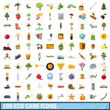100 eco care icons set, cartoon style. 100 eco care icons set in cartoon style for any design vector illustration Royalty Free Stock Photo