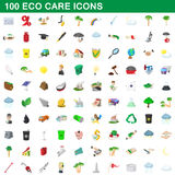 100 eco care icons set, cartoon style. 100 eco care icons set in cartoon style for any design vector illustration Stock Photos