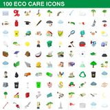 100 eco care icons set, cartoon style. 100 eco care icons set in cartoon style for any design illustration royalty free illustration