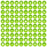 100 eco care icons set green circle. Isolated on white background vector illustration Stock Photography
