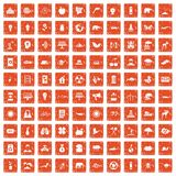 100 eco care icons set grunge orange. 100 eco care icons set in grunge style orange color isolated on white background vector illustration Stock Images