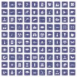 100 eco care icons set grunge sapphire. 100 eco care icons set in grunge style sapphire color isolated on white background vector illustration Royalty Free Stock Image