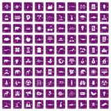 100 eco care icons set grunge purple. 100 eco care icons set in grunge style purple color isolated on white background vector illustration Stock Image