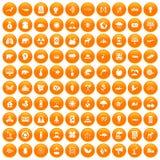 100 eco care icons set orange. 100 eco care icons set in orange circle isolated on white vector illustration Vector Illustration