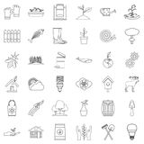 Eco care icons set, outline style. Eco care icons set. Outline style of 36 eco care vector icons for web isolated on white background Royalty Free Stock Photos