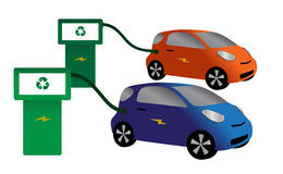 Eco Cars Refuelling. Two Electric Cars Refuelling Isolated On A White Background Royalty Free Stock Photography