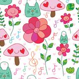 Eco cat bag flower smile happy plant music note seamless pattern. This illustration is design abstract use Eco cat bag recycle idea with flower smile and happy Royalty Free Stock Image