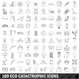 100 eco catastrophic icons set, outline style. 100 eco catastrophic icons set in outline style for any design vector illustration Royalty Free Stock Images