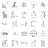 Eco catastrophic icons set, outline style. Eco catastrophic icons set. Outline set of 25 eco catastrophic vector icons for web isolated on white background Stock Images