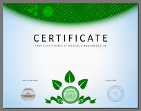 Eco certificate template with bio elements in vector Royalty Free Stock Images