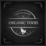Eco chalk lettering label of organic natural fresh food. On blackboard Royalty Free Stock Photography