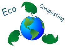 Eco che concima con la composta l'illustrazione in tutto il mondo di simbolo. Immagine Stock Libera da Diritti