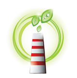 Eco chimney with plants Royalty Free Stock Image