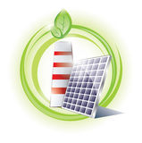 Eco chimney and solar panel Royalty Free Stock Photo