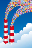 Eco chimneys. Environmentally-friendly chimneys with floral smoke Stock Photography