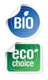 Eco choice stickers. Set of eco choice stickers, bio products Stock Image