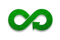 ECO, circular economy, green grass infinity arrow symbol. 3D illustration. Green Eco-friendly and circular economy concept. Infinity arrow recycling symbol with royalty free stock image