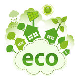 Eco City. Green living concept. Green city on ECO cloud Royalty Free Stock Photo
