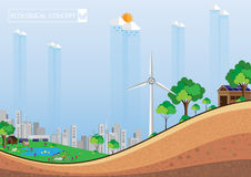 Eco city abstract background. Eco concept and green city abstract background.With soil texture profile.Vector illustration Royalty Free Stock Photos