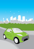 Eco city car. Vector illustration of environmentally friendly, green electric powered car on city background Stock Image