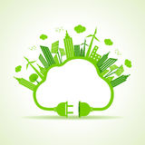 Eco city concept with cloud and plug Royalty Free Stock Photography
