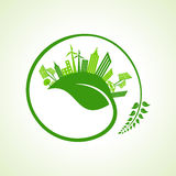 Eco city concept with leaf Royalty Free Stock Images