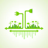 Eco city concept with plug and holder Stock Photo