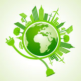 Eco city concept with plug and holder Royalty Free Stock Photo