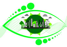 Eco city design with green buildings and windmills in eye shape  illustration Stock Photos