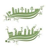 Eco city eco village. Eco friendly building green color royalty free illustration