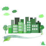 Eco-city. Green buildings, green trees, leaves, nature and city Stock Illustration