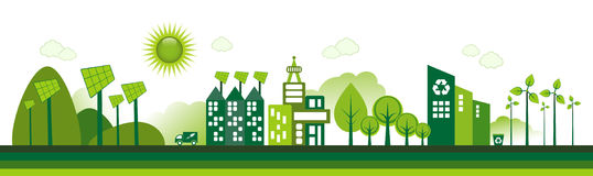 Eco City. Green Eco city living concept royalty free illustration
