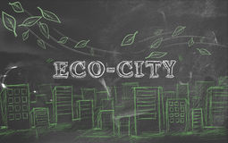 Eco-city green tourism blackboard Stock Image
