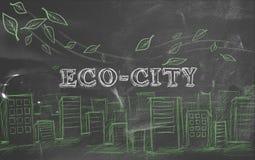 Eco-city green tourism blackboard. Text Stock Image