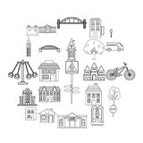Eco city icons set, outline style. Eco city icons set. Outline set of 25 eco city vector icons for web isolated on white background Stock Photography