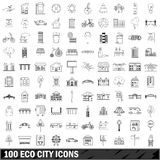 100 eco city icons set, outline style. 100 eco city set in outline style for any design vector illustration Stock Image